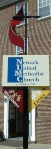 Newark United Methodist Church's welcome sign