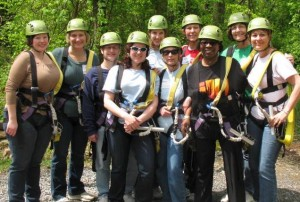 photo of zipliner participants, Women's Retreat
