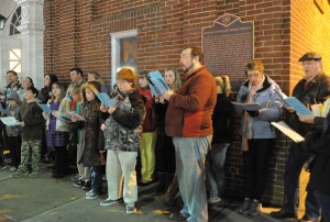 photo of Christmas caroling in front of our facility