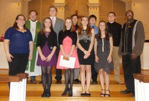 photo of fall 2013 confirmands, class leaders, and Rev. Palmer