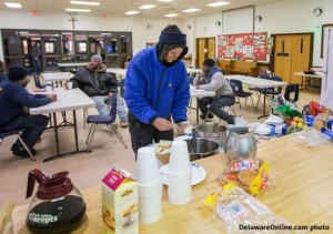 photo of Newark homeless being fed and cared for