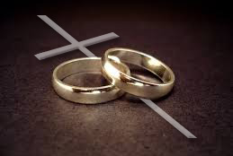 photo of wedding rings over a cross