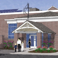 artist's rendering of front of proposed new welcoming center