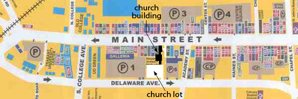 graphic of downtown area with parking lots marked
