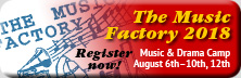 banner for Music Factory 2018, Register Now!